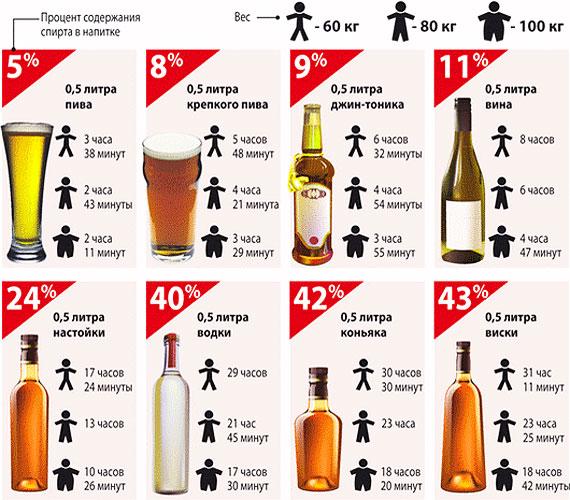 Сколько держится водка в организме человека